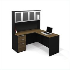 Computer Desk Home Office Workstation Table L-Shaped with High Hutch Pedestal #Bestar #Transitional
