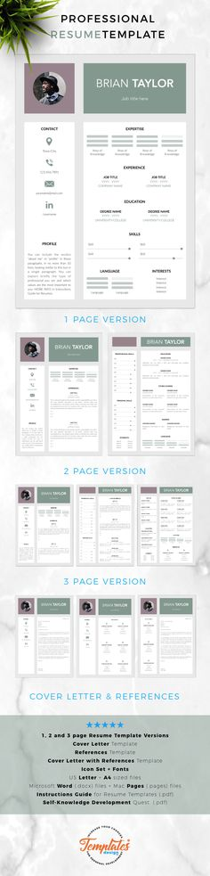 Modern  creative Resume, CV Template; Resume Templates for Word - resume 1 or 2 pages