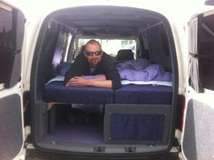 vw caddy camper conversion maximises space but doesn 39 t allow for using the front seats. Black Bedroom Furniture Sets. Home Design Ideas