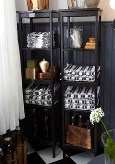 Open Storage For Towels With HEMNES Shelving Units