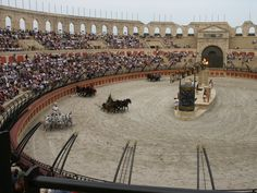 The roman would race in an arena like so