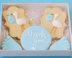 Baby Boy Stork delivery cookies