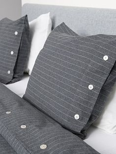 Pinstripe bedding...LOVE this. Could make a throw pillow for the bed out of an old suit or dress shirt from thrift store