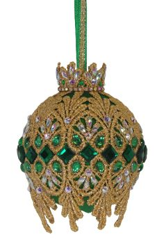 """Items similar to ORNAMENT KIT - """"Padriag's Cloak"""", with digital directions delivered by email on Etsy Sequin Ornaments, Beaded Christmas Ornaments, Christmas Balls, Christmas Crafts, Christmas Decorations, Xmas, Merry Christmas, Emerald Color, Pot Of Gold"""
