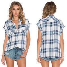 "Rails Britt Short Sleeve Mint/White Plaid Top Authentic Rails LA plaid ""Britt"" short sleeve top. Super soft 100% rayon fabric. White with mint and navy plaid design, button down front, collar. Size large, Approx 30"" long, 24"" across bust. Front patch pockets at chest. Excellent preloved condition, only flaws are tiny pin-prick sized pulls (see photo 4) that are not at all noticeable when wearing but price has been reduced to reflect this. Model photos credit Revolve. ❌No trades❌Price firm…"