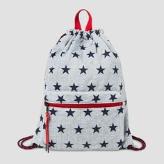 This Girls  Star Print Drawstring Backpack from Cat  amp  Jack in Grey is  the 5df4a1b3d64df