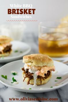 White BBQ Brisket Sandwiches | Eat like a Southerner with these delicious sandwiches made with pulled brisket, white BBQ sauce, pimento cheese in homemade biscuits!