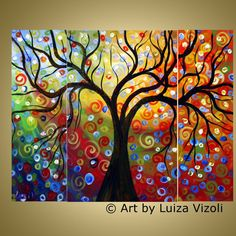Journey ~Triptych Oil Landscape Abstract Tree Painting