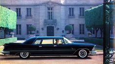 """1958 Chrysler Crown Imperial Limousine, photographed in front of the Beverly Hills mansion of the """"Beverly Hillbillies"""""""