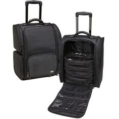 Professional Soft Sided Rolling Makeup Case w/ Pouches - Black, only $119.95 plus Free Shipping!