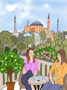 Hagia Sophia illustration by Emel Erten Friendship Love, Hagia Sophia, Picture Description, Women Life, Disney Characters, Fictional Characters, Religion, Illustration Art, Anime