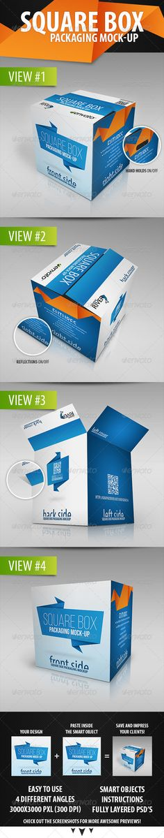 Realistic Square Packaging Box Mock-Up by geojc14  4 different angle of a realistic square packaging box mock-ups with your design. And your flat design will look really great and