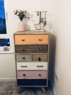 Oliver Bonas chest of drawers 💐 Funky Furniture, Colorful Furniture, Plywood Furniture, Furniture Design, Chest Of Drawers Decor, Chair Design, Design Design, Home Design Decor, Home Decor