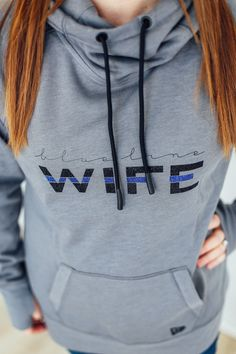 Blue Line Wife Thumbhole Cowl Neck Hoodie Correctional Officer Wife, Police Officer Wife, Police Wife Life, Police Girlfriend, Police Wife Tattoo, Police Family, Police Officer Crafts, Police Wife Quotes, Law Enforcement Wife
