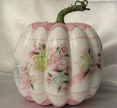 Hand Painted Pumpkin Cottage Chic Roses Hydrangea Shabby Lace HP Foam