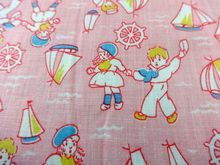 Vintage Novelty Sail Boat Children Cotton Fabric Pink  3.5 yards x 37 inches