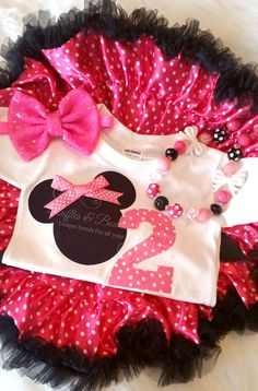 Do you have a Minnie Mouse lover? This adorable pink birthday outfit is perfect for your little one turning two! Paired with a ruffled pink pettiskirt, and over the top bow, your little one will be th Mickey Party, Pink Birthday, Mickey Mouse Birthday, 2nd Birthday Parties, Birthday Ideas, Minnie Mouse Theme, Baby Girl First Birthday, First Birthdays, Turning