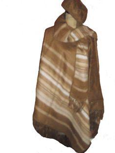 Luxury Alpaca cape Wool camel and beige scarves & hat  #Alpacaware #Cape $145.00