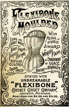 This wonderfully aged, shabby, Flexibone Moulded corset advertisement is from the March 1895 issue of The Delineator magazine.  Click on image to enlarge.