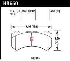 Hawk for 09-11 Nissan GT-R HP+ Street Front Brake Pads HB650N.730
