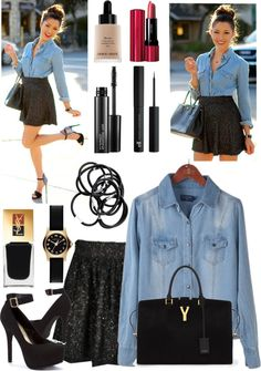 Denim blouse, black pleated skirt, and accessories to match.