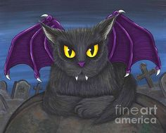 Vlad Vampire Cat  - Fine Art America Pixels, Carrie-Hawks.Pixels.com Copyright - Carrie Hawks, Tigerpixie Fantasy Cat Art. More Prints, Jewelry & Gift Items featuring this image are available on my website - Tigerpixie.com