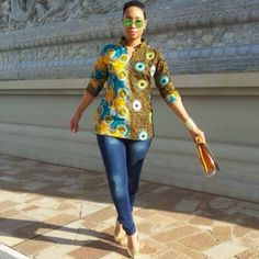 latest african fashion look 167 African Blouses, African Tops, African Shirts, African Women, African Fashion Ankara, Ghanaian Fashion, African Print Fashion, African Attire, African Wear