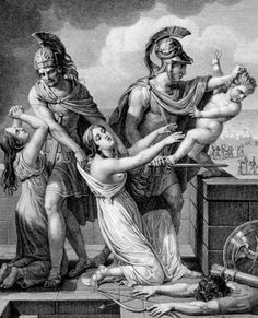 Astyanax, son of Hector and Andromache, thrown down the walls of Troy by Neoptolemus (son of Achilleus) by the presence of his mother. Women In Mythology, Greek Mythology Art, Roman Mythology, Ancient Greek Art, Ancient Rome, Ancient Greece, Ancient History, Greek Warrior, Trojan War
