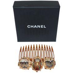 depot vente de luxe en ligne CHANEL peigne bijoux en métal et plumes collection Paris Edimbourg - On sale eshop luxe www.tendanceshopping.com