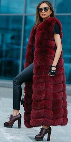 Burgundy Fur Sleeveless Coat