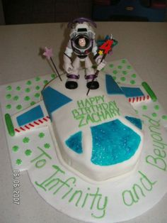 Buzz Lightyear cake....@Lisa Brown   this one would be easy.  just cut the cake in the chape of a rocketship and use an action figure!  to make the icing smooth, you dont need fondant.  just get a roll of Viva papaer towels... and gently press the fresh icing and rub... lift and it's smooth!!  Viola!