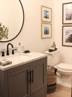 silver Bathroom Decor A simple and modern bathroom renovation featuring an oversized mirror and Delta Trinsic faucet. (via House of Silver Living) Bathroom Faucets, Small Bathroom, Bathroom Ideas, Silver Bathroom, Brown Bathroom, Modern Bathrooms, Bathroom Cabinets, Bathroom Renovations, Home Remodeling