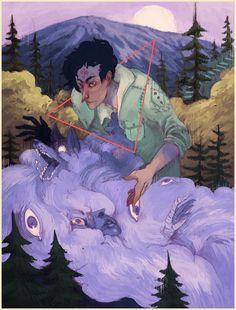 James Fenner / géométrique / triangle / trait / couleur / violet / personnage / portrait / h-abstraits / déité / nuages / composition / brume / montagne / forêt