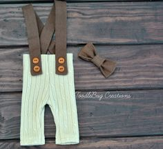 Newborn Photography Pants  Upcycled Tan Cable Knit Suspenders with Matching Brown Bow Tie by ToodleBugCreations, $26.50
