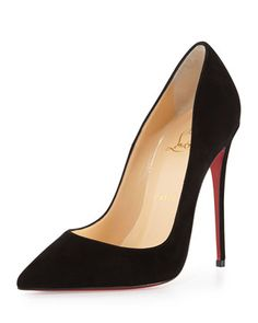 "Christian Louboutin suede pump. 5"" covered heel. Pointed toe; single sole. Low-cut vamp visually lengthens legs. Creamy leather lining and footbed. Signature Christian Louboutin red leather outsole. """