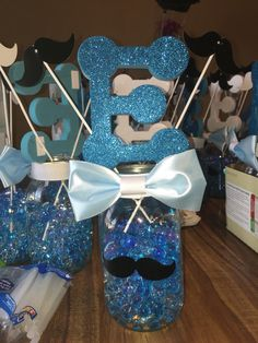 Mustache baby shower centerpiece