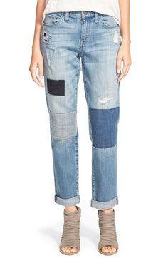 Treasure&Bond+Boyfriend+Jeans+(Rustic+Light+Patched)+available+at+#Nordstrom