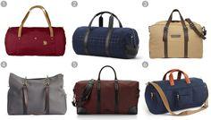 (1) Duffel No. 4 large, Fjallraven $170, fjallraven.com; (2) quilted tech nylon duffle, Jack Spade $328, jackspade.com; (3) classic canvas weekender, Marc by Marc Jacobs $428,marcjacobs.com; (4) M/S Supply bag, Mismo $632.42, mismo.dk; (5) Wythe weekender, Uri Minkoff$425, uriminkoff.com; (6) Harwick duffel bag, J.Crew $98, jcrew.com