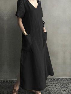 ZANZEA Vintage Short Sleeve V Neck Pockets Dress is comfortable, see other simple casual dress on NewChic. Casual Dresses For Women, Dresses For Sale, Summer Dresses, Vintage Shorts, Denim Casual, Mono Casual, Vintage Dresses Online, Vestidos Vintage, V Neck Dress