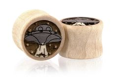 UFOs Alien Outer Space Wood Plugs Gauges from Omerica Organic. Use Rep Code SWEETLE at checkout for 20% off your first purchase!