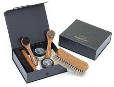 9-teiliges hochwertiges Schuhpflege-Set mit Rosshaarbürsten in robuster Aufbewahrungsbox