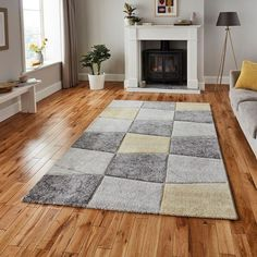 Hector Grey/Yellow Rug Longweave Rug Size: Rectangle 120 x Duck Egg Blue Rugs, High Pile Rug, Pink Rug, Yellow Rugs, Machine Made Rugs, Geometric Rug, Buy Rugs, White Rug, Home Additions