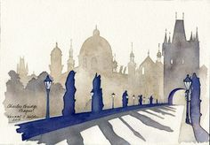 "Charles Bridge, Prague | 2013 | © Hannah C. Holder | 7""x 10"" (watercolor on paper) 