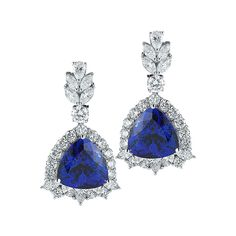 25.83 Ctw Trillion-Cut GIA Cert Tanzanite Diamond (Round: 4.17cts Marquise & Pear Shape:3.87cts) White Gold Dangle Earrings