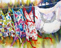THREE GIRLS GET MARRIED ~  Nicole Gelinas ~ watercolor on canvas