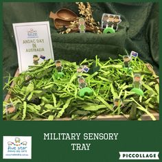 Army sensory tray - find the vehicles and people.