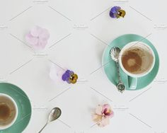 Empty Coffee Cups and Flowers by The Pixel Gypsy on @creativemarket