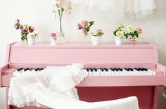 pink painted piano