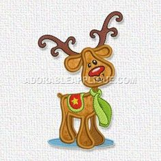 This free embroidery design from Adorable Applique is a reindeer.