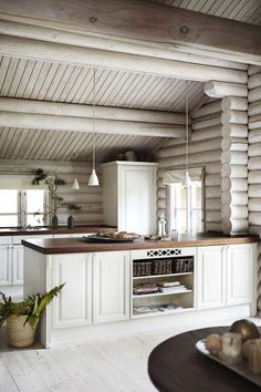 Rustic kitchen with whitewash cabinet, floors and walls.